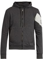 Moncler Gamme Bleu Striped zip-through cotton sweatshirt