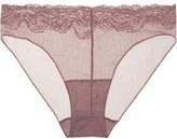 Hanro Lulu Stretch Leavers Lace-trimmed Tulle Briefs - Grape
