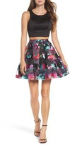 Sequin Hearts Women's Printed Shadow Skirt Two-Piece Fit & Flare Dress