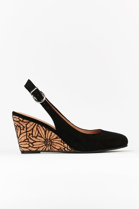 Wallis Black Slingback Wedge Heels
