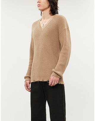 DSQUARED2 Distressed V-neck knitted cotton jumper