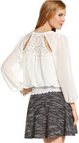 Amy Byer Juniors Top, Three-Quarter Sleeve Lace Blouson