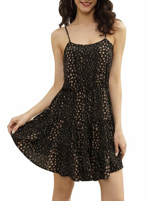 Liumilac Women's Strappy Backless Summer Evening Party Mini Dress Leopard Pink Dress XL