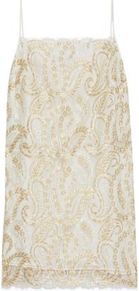Etro Metallic Lace Mini Dress