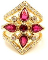 Temple St. Clair 18k Yellow Gold Diamond Ruby Persia Ring Size 6