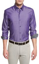 Ermenegildo Zegna Polished Solid Long-Sleeve Sport Shirt, Purple