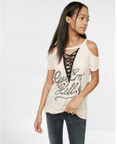 Express give em hell cold shoulder lace-up tee