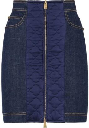 Fendi Padded-Detail Denim Skirt