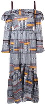 Lemlem Kente ruffle cold-shoulder dress
