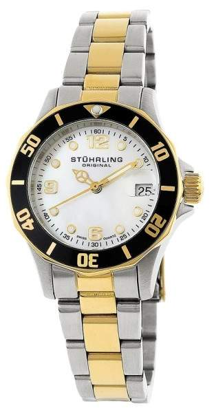 Stuhrling Original Lady Clipper 157.112237 Two-Tone Stainless Steel & MOP 36mm Watch