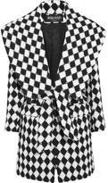 Balmain Two-tone Wool Coat - Black