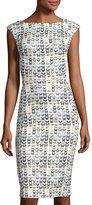 Alberto Makali V-Back Butterfly-Print Sheath Dress, Ivory