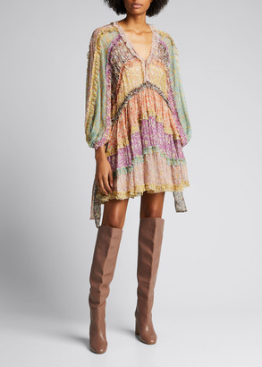 Zimmermann Carnaby Frill Blouson-Sleeve Dress