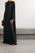 Reem Acra - Asymmetric Crystal-embellished Crepe Gown - Black