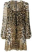 Saint Laurent semi sheer leopard print dress