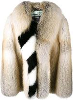 Off-White oversized diagonal stripe coat - women - Fox Fur/Polyester - 40