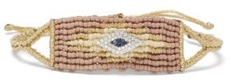 Diane Kordas Evil Eye Diamond & Sapphire Woven Bracelet - Beige