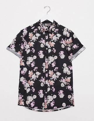 Asos DESIGN stretch slim fit poplin floral shirt in navy
