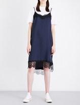 Clu Lace-trimmed satin slip dress