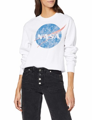 Brands In Limited Women's NASA Classic Insignia Logo Distressed T-Shirt