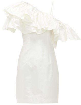 Rasario One-shoulder Ruffle-trim Silk Mini Dress - White