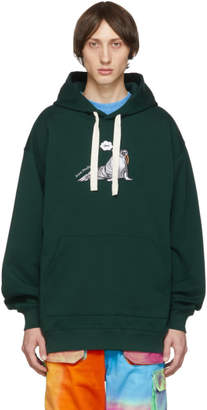 Acne Studios Green Embroidered Animal Hoodie