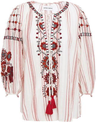 Antik Batik Camilla Tasseled Embroidered Cotton-jacquard Blouse
