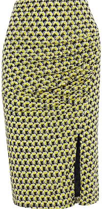 Diane von Furstenberg Willa Ruched Printed Stretch-mesh Skirt