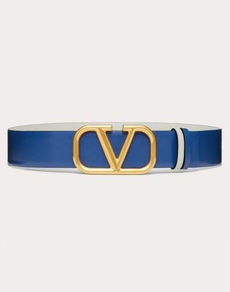 Valentino Reversible Vlogo Signature Belt In Glossy Calfskin 40mm Women Blue/opal Grey 100% Pelle Di Vitello - Bos Taurus 75