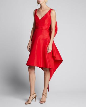 Carolina Herrera Faille Bow-Back Sleeveless Dress