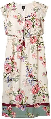 Adrianna Papell Plus Size Floral Border Print Maxi Dress (Ivory Multi) Women's Dress