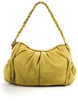 Elliott Lucca Yellow Pebbled Leather Silver Tone Hardware Shoulder Hobo Handbag