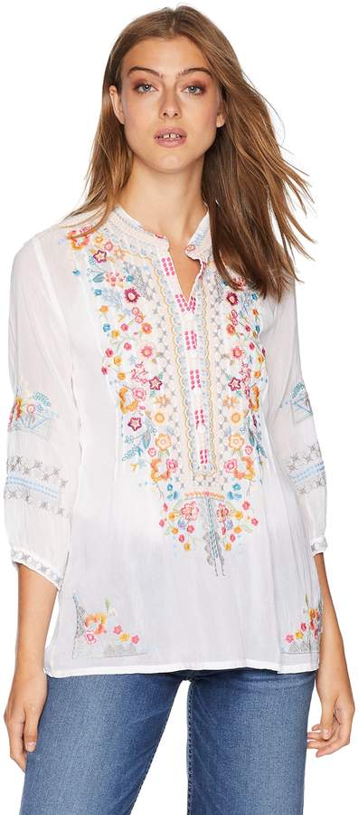 Johnny Was Women's Henley-Style Blouse with Multicolor Embroidery