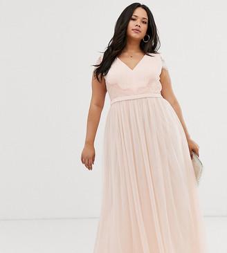 Little Mistress Plus lace back cap sleeve maxi dress in pink