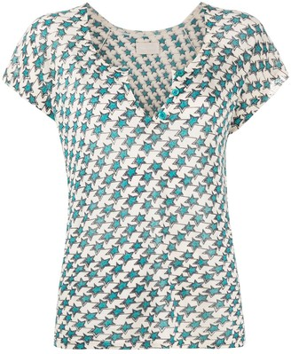 Zadig & Voltaire star-print open neck T-shirt