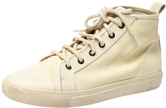 Ralph Lauren Light Cream Unlined Leather Lace High Top Sneakers Size 40