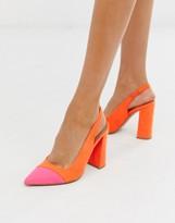 Asos Design DESIGN Password slingback high block heels in orange and pink