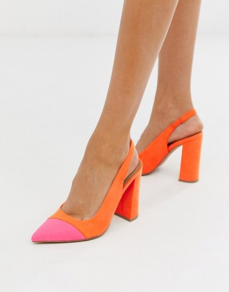 Asos Design DESIGN Password slingback high block heels in orange and pink