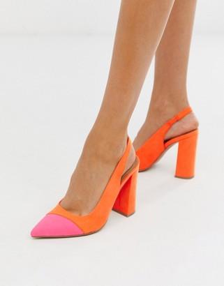 Asos DESIGN Password slingback high block heels in orange and pink