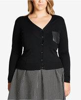 City Chic Trendy Plus Size Faux-Leather-Pocket Cardigan