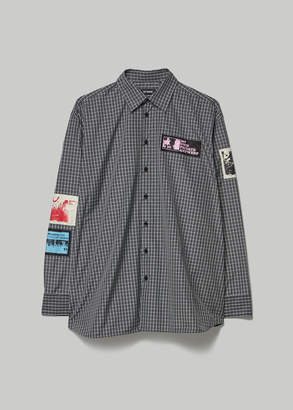Raf Simons Men's Oversized Shirt with Patches in Black Size 46