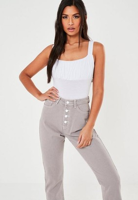 Missguided White Ruched Bust Thick Strap Bodysuit