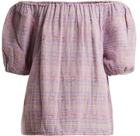 Ace & Jig - Gelato Off The Shoulder Jacquard Cotton Blend Top - Womens - Purple Multi