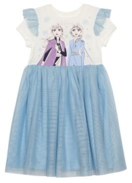 Disney Little Girls Elsa Anna Dress with Mesh Skirt