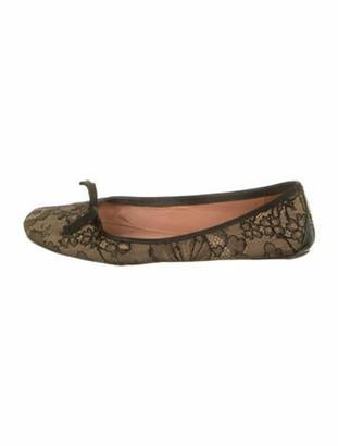 Alaia Leather Lace Pattern Ballet Flats Black