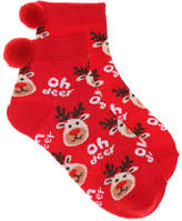 Girls Oh Deer Toddler & Youth Ankle Socks -Red