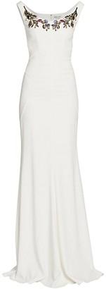 Alexander McQueen Bejeweled Boatneck Gown