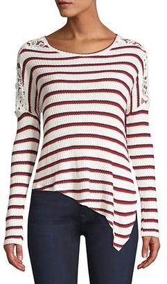 Generation Love Bleeker Striped Lace Asymmetric Top