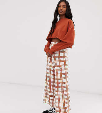 Asos Tall DESIGN Tall grid check culotte-Multi