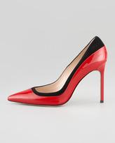 Manolo Blahnik Pretati Patent & Suede Pump, Red/Black